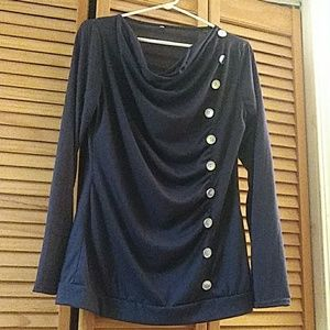 Navy blue longer shirt w button accents
